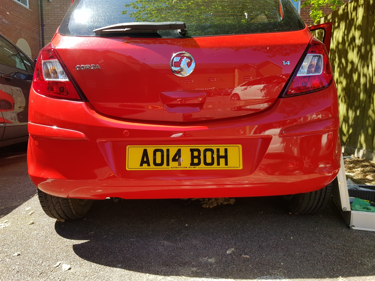 Vauxhall Corsa rear color coded parking sensors